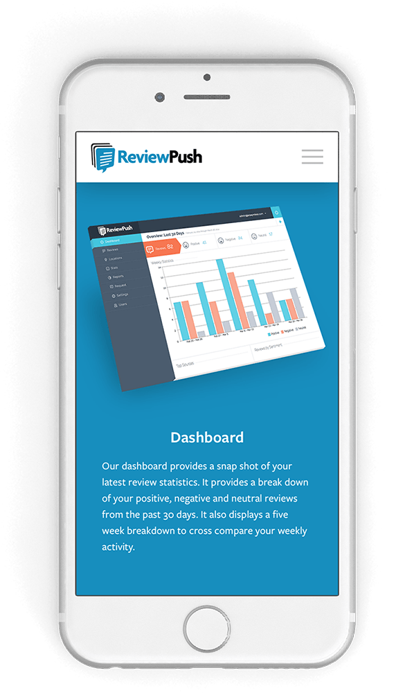 ReviewPush website on mobile